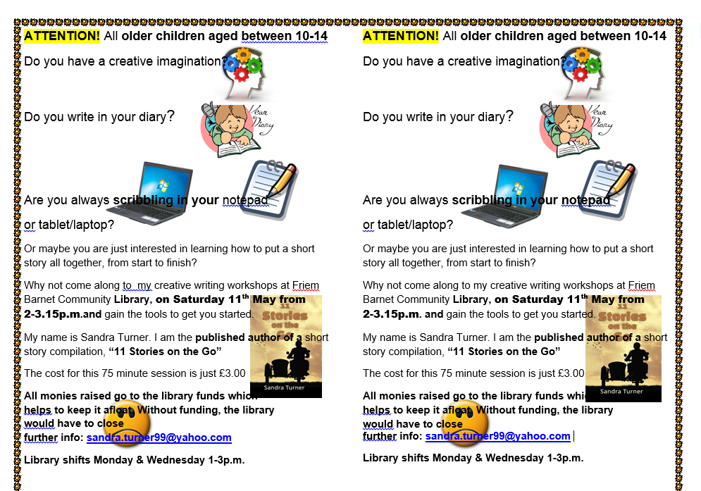 Creative Writing Workshops at FBCL – Now also for 10 to 14 years